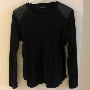 Zara top with leather shoulder detail